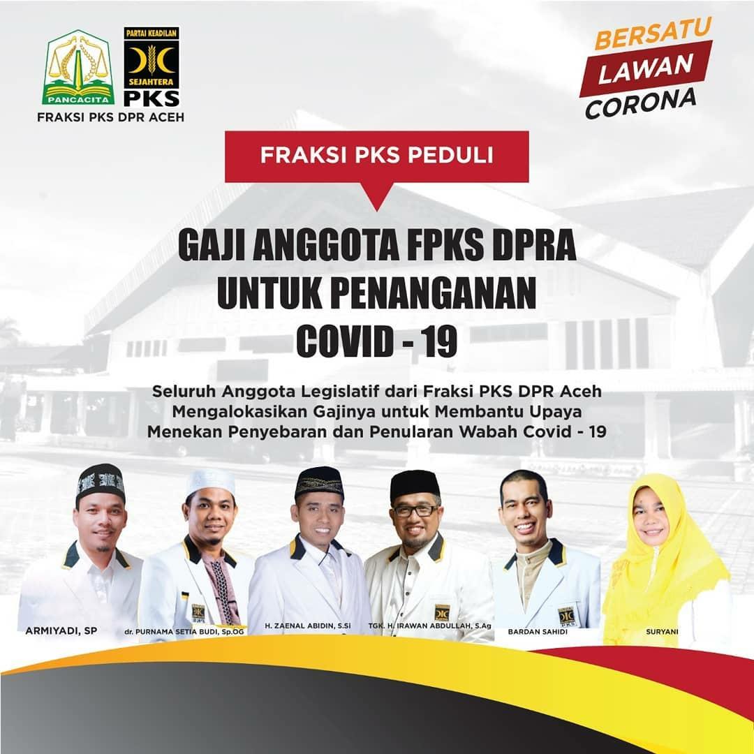 Gaji Anggota Fraksi PKS DPRA  Dialokasikan Untuk Penanganan Covid-19