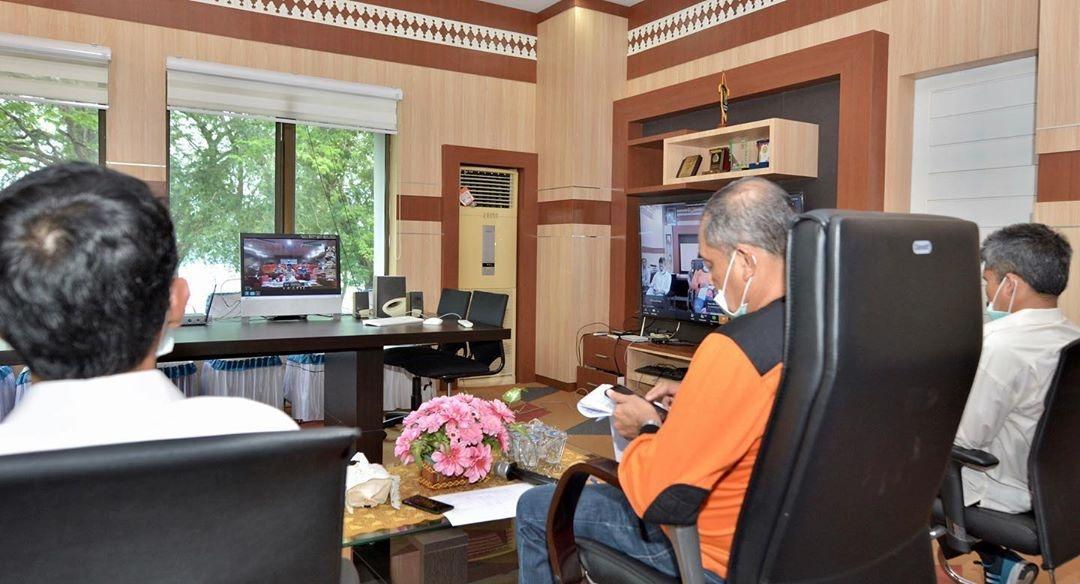 Sekda Kota Sabang dan Dinas Terkait gelar Video Conference dengan Kementrian Dalam Negeri