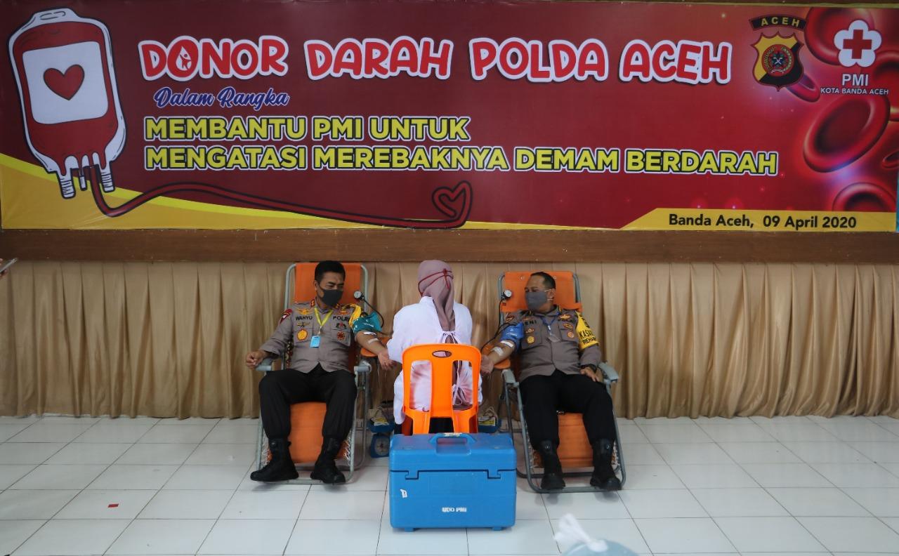 Gelar Donor Darah, Polda Aceh Kumpulkan 97 Kantong Darah Bantu PMI Banda Aceh